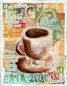 Scripture Art, Wait Expectantly, Psalm 5, 8 x 10 Fine Art Print, Mixed Media Collage on Etsy, $18.00
