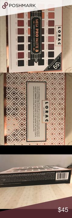 Mega Pro Palette 3 Authentic Lorac Mega Pro Palette 3- Brand new in box!This a Limited Edition by Lorac that introduced prior to the 2016 holiday season.  Includes: 32 PRO Eye Shadow Shades:  16 Matte & 16 Shimmer Lorac Makeup Eyeshadow