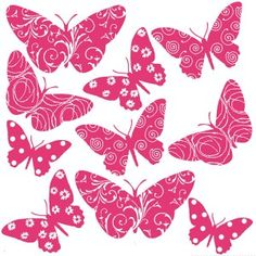 Flocked Butterfly Wall Stickers