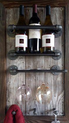 Wine Rack Reclaimed Wood barn wood by HammerHeadCreations on Etsy--RP BY HAMMERSCHMID