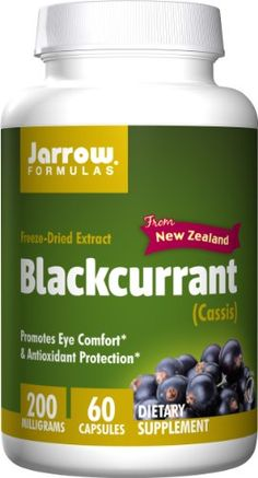 Jarrow Formulas Black Currant Freeze-Dried Extract, Promotes Eye Comfort & Antioxidant Protection, 200 mg, 60 Capsules Standardized Blackcurrant Extract Capsules New Zealand Blackcurrants Blackcurrant Polyphenols & No Pesticides or Herbicides Used Black Currant Oil, Diet Supplements, Black Currants, Freeze Drying, Frozen, Vegetarian, Nutrition, Health, Salud