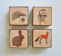 woodland home decor, forest animals, art blocks    Our Art Block 4/Four Set of Woodland Animals.  This lovely set contains four of our 5x5 art
