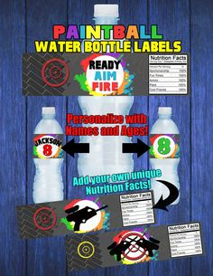 Printable Paintball Water Bottle Labels by RiverMamasDesigns Happy 13th Birthday, 13th Birthday Parties, Boy Birthday, Birthday Celebrations, Birthday Ideas, School Parties, Teen Parties, Paintball Birthday Party, Laser Tag Birthday
