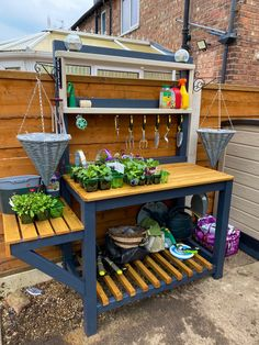 Outdoor Projects, Garden Projects, Diy Projects, Cuprinol Urban Slate, Planting Bench, Outdoor Potting Bench, Outdoor Rooms, Outdoor Furniture, Garden Organization