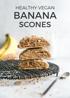 Healthy Vegan Banana Scones – these are so easy and way healthier than traditional scones. Whole grain flour, lightly sweetened and can be made with coconut oil, vegan butter or conventional butter. Lots of tips and tricks in this recipe too! Whole Food Recipes, Vegan Recipes, Snack Recipes, Banana Recipes, Kitchen Recipes, Delicious Recipes, Vegan Baking, Healthy Baking, Vegan Food
