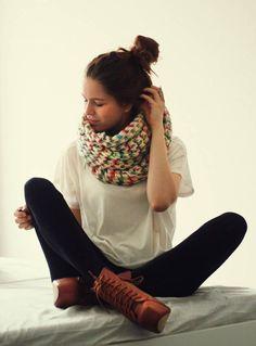 knit infinity scarf, big white tee, black leggings, chunky heels, messy updo