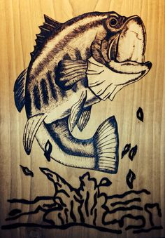Custom Wood Burned Bass Fish Plaque Made to Order by SummyP, $50.00