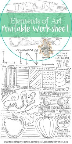 This printable worksheet covers the element of art line. Examples and information are included on the front, with an activity for the student to complete on the back. This is perfect for introduction to art students. #arteducation #elementsofart #line