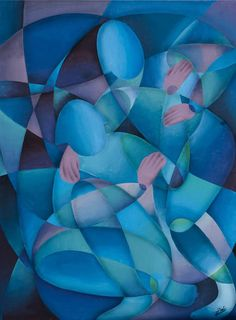 Pareja en azul Acrílico sobre tela 60x80