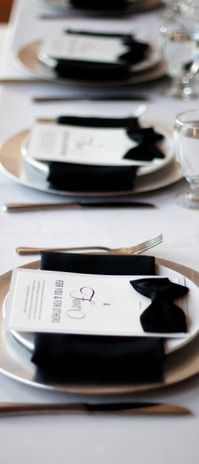 Black bow ties and napkins