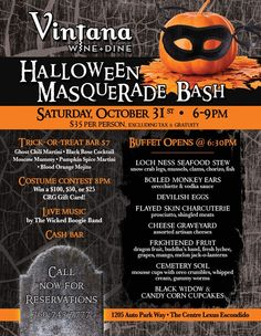 Join us this Saturday for a frightfully fun night at our Halloween Masquerade Bash!