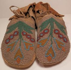 Antique Native American Algonquin Beaded Moccasins with Flower Beading Design | eBay
