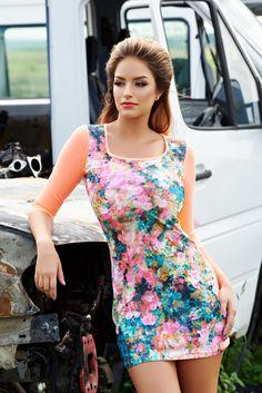 Rochie MissQ Still Nature Orange. Rochie scurta MissQ mulata, cu imprimeu…
