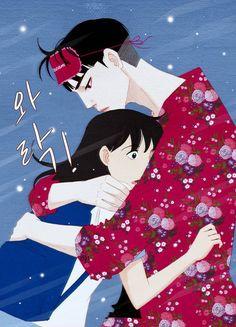 Song wooyeon X Nam kijeong Korean Illustration, Couple Illustration, Character Illustration, Spirit Fingers Webtoon, Blue Fingers, Manga Couple, Manhwa Manga, Cute Anime Couples, Cute Relationships