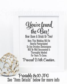 Drunken Shenanigans Open Bar Sign You Ve Found The Cash Alcohol Black White Printable Wedding Reception Decorations By