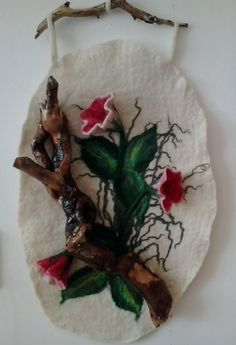 "Felted picture ""Purple Gloxinia"", Тapestry wall hanging"