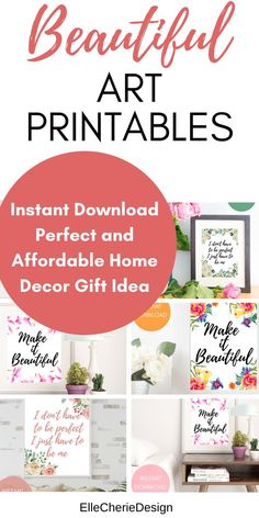 Beautiful Art Printables by ElleCherieDesigns Stylish Home Decor, Diy Home Decor, First Apartment Decorating, Kitchens And Bedrooms, Diy On A Budget, Printable Wall Art, Boho Decor, Gift Ideas, Decor Ideas