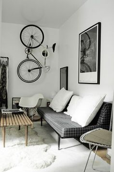 charcoal + white living room - hanging bike