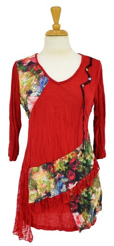 Red Brick Floral Tunic @ilovetunics.com