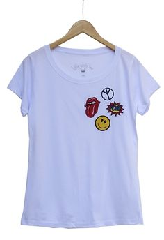 Camiseta patches SMILEY | NOVIDADES | little white tee