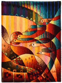 "Tejidas a mano tapiz peruano, ""Homecoming"", Vertical, pared que cuelga, Alpaca, tapiz por Maximo Laura, hecho a mano, tapices, Perú Textiles de pared"