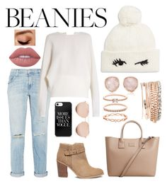 """""""Pom Pom Beanies"""" by what-fashion-is on Polyvore featuring Kate Spade, Current/Elliott, Carl Kapp, Jessica Carlyle, Sole Society, MANGO, Monica Vinader, Accessorize, Linda Farrow and Lime Crime"""