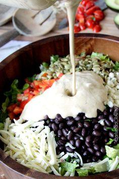 Southwest Pepper Jack Salad with Creamy Avocado Salsa Dressing | http://www.carlsbadcravings.com/southwest-salad-creamy-avocado-salsa-dressing/