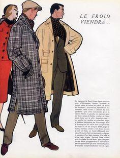 René Gruau - Illustration - Mode Masculine - Manteaux - 1955