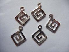 Drop Silver Plated Brass 12x12mm Greek Key by DarsJewelrySupplies