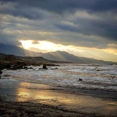 Waiting for the calm after the storm.  #chania #storm #sea #winter #beach #clouds #sunset  #photooftheday #instagood #instamood #sky #sun
