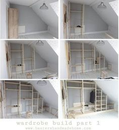 Nov 10 Wardrobe with reclaimed doors, part 1 Part 1 of my build in wardrobe tutorial using Ikea Ivar units, by Hesters Handmade Home - Door Attic Wardrobe, Attic Closet, Built In Wardrobe, Closet Bedroom, Closet Doors, Wardrobe Doors, Attic Office, Diy Wardrobe, Build Your Own Wardrobe
