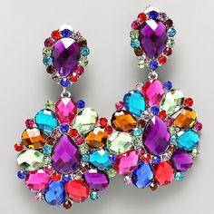 Multicolor Crystal Rhinestone Chandelier Clip Bridal Drag Queen Pageant Earring