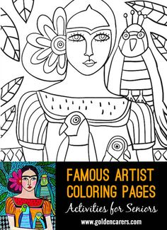 Famous Artist  Coloring Pages: Here is an impression of a work of art by Frida…