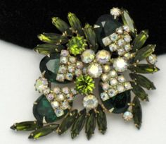 Vintage Alice Caviness Olivine Aurora Borealis Rhinestone Brooch Pin | eBay