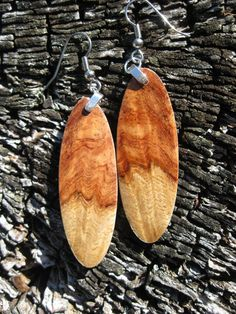 $29.95 Afzelia Burl Earrings Now On My Etsy!  Amazing Wood Burl Earrings by forestlifecreations on Etsy