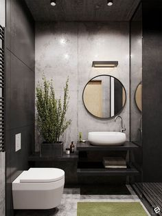 Small bathrooms contrast stark walks with verde