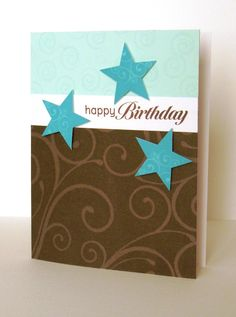Stars flourish brown turquoise card