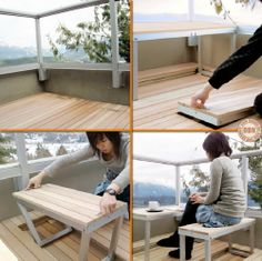 """Small balconies and furniture can be a challenge. Here's a great solution! We have lots of interesting furniture ideas for you in our """"Space-Saving Furniture """" album at http://theownerbuildernetwork.co/ideas-for-your-rooms/furniture-gallery/space-saving-furniture/ Is this idea a Win or Fail?"""