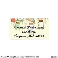 Country Wedding Mason Jar Labels