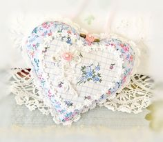 Sachet Heart Ornament 5.5 inch  Ruffled Heart by CharlotteStyle