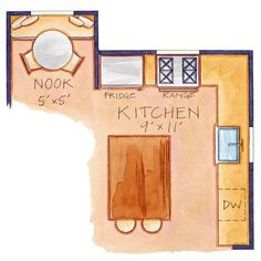 Cottage Kitchen- Floor Plan    The footprint of the kitchen was left intact, which eliminated the need for electrical and plumbing changes. An L-shape work space is efficient for cooking and meal prep but leaves the kitchen with limited counter space. A spacious island solves that problem.