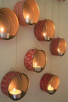 DIY Christmas decorations: Hanging Tin Can Lanterns Tin Can Lanterns, Lantern Decorations, Diy Lantern, Ideas Lanterns, Hanging Lanterns, Candle Lanterns, Glass Candle, Tin Can Crafts, Idee Diy