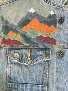Rainbow Mountains Embroidered Denim Jacket - Embroidered jean jacket men - Earthy embroidery jacket Outfits Items similar to Rainbow Mountains Embroidered Denim Jacket - Embroidered jean jacket men - Earthy embroidery on Etsy Denim Jacket Embroidery, Embroidered Denim Jacket, Embroidery On Clothes, Embroidered Clothes, Jeans With Embroidery, Diy Jean Embroidery, Embroidery Ideas, Diy Jeans, Men's Jeans