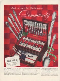 """Description: 1952 COMMUNITY SILVERPLATE vintage print advertisement """"Just in time for Christmas"""" -- Just in time for Christmas . 1950s Christmas, Christmas Kitchen, Christmas Themes, Vintage Christmas, Vintage Advertisements, Vintage Ads, Vintage Prints, Vintage Decor, Vintage Stuff"""