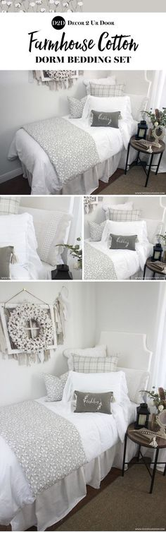 Cotton branch perfection! Chip and Jo, where you at? This farmhouse cotton dorm bedding has Fixer Upper written all over it... and we just can't get enough! Plaid gingham check pairs with white frills, kelp solids, tassels, and a cotton pattern that is sw Dorm Room Headboards, Dorm Bedding Sets, Teen Bedding, Boho Bedding, Preppy Dorm Room, Boho Dorm Room, Pink Dorm Rooms, Teen Rooms, Dorm Room Food