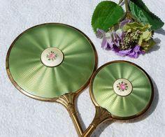 Antique Vanity Set Gold Hand Mirror Brush Green by TheGildedSwan, $89.00