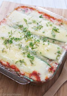 Zucchini Lasagna - A cheesy lasagna recipe made into a skinny and low carb meal with zucchini slices.