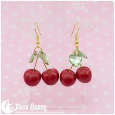 """~+""""Cherries""""+Earrings+~  Size+of+the+cherry:+1x1+cm Material:+polymer+clay  We've+made+our+best+to+portray+the+colors+of+jewelry+as+accurately+as+possible,+however+colors+will+vary+with+individual+monitors+and+subject+to+individual+opinion."""