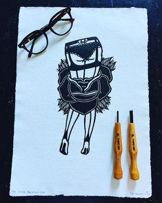 """In Bloom"" lino print. Lino Cuts, Lino Prints, Traditional Tattoo, Handmade Art, Bloom, Vacation, Tattoos, Tattoo Traditional, Vacations"
