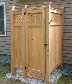 Cedar Outdoor Shower Kits Outdoor Showers are our specialty. Our Cape Cod Outdoor Shower Kit Enclosures are easy to assemble and made to last. We offer custom outdoor showers as well